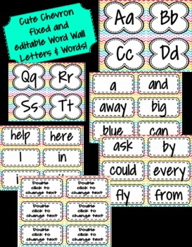 CUTE Chevron Print Word Wall Letters AND ALL 220 Dolch Sight Words **EDITABLE