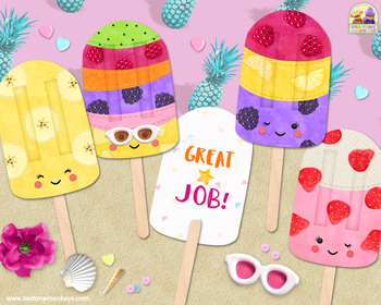 CUTE FRUIT POPSICLES - ICE POPS - editable student gifts, rewards, favors