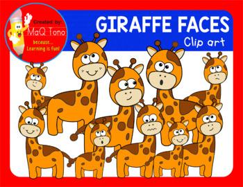 CUTE GIRAFFE FACES CLIPART