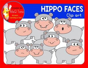 CUTE HIPPO FACES CLIPART