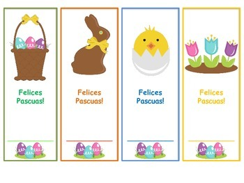 CUTE Happy Easter Bookmarks in Spanish