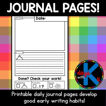 CUTE Kindergarten journal writing pages with good writing checklist!