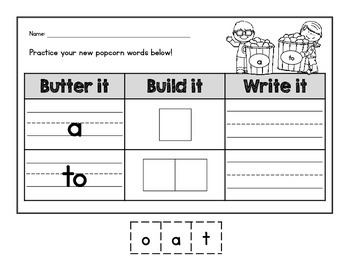 {CUTE} Kindergarten popcorn (sight) word build-it and write-it practice!