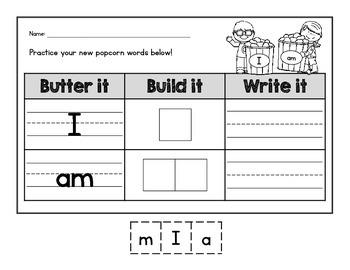 {CUTE} Kindergarten popcorn (sight) word build-it and writ