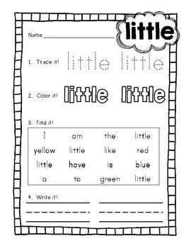 {CUTE} Kindergarten sight word practice sheets - 51 words!