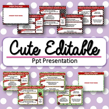 Editable Lady Bug Themed Morning Work / Routine PowerPoint Templates