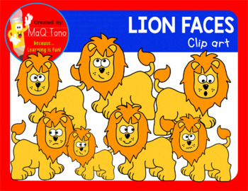 CUTE LION FACES CLIPART