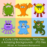 CUTE MONSTERS - CLIP ART- PNG files and PDF files to print