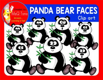 CUTE PANDA BEAR FACES CLIPART