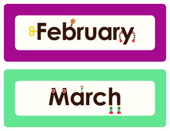 CUTE ROBOT MONTHS OF THE YEAR!!!