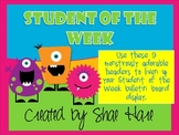 CUTE!!! Student of the Week - Monster - Bulletin Board Display