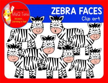 CUTE ZEBRA FACES CLIPART
