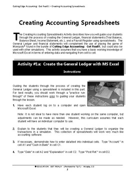 "ACCOUNTING – FINANCIAL LITERACY:  ""Spreadsheet Activity for Accounting Students"""