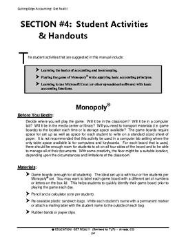 """ACCOUNTING & FINANCIAL LITERACY """"Monopoly® - Reinforcing Accounting Principles"""""""