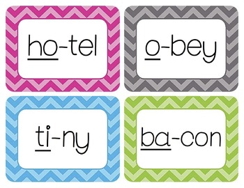 CV/Open Syllables Word Wall Cards