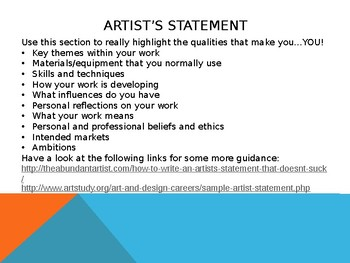CV and Careers Advice for Art Students, PowerPoint presentation
