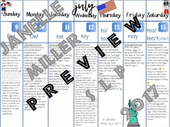 CV & VC Words: Apraxia Summer 2017 Speech Calendars & Daily Activities Per Word
