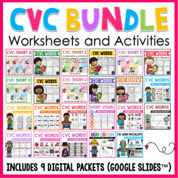 CVC Worksheets and Centers BUNDLE