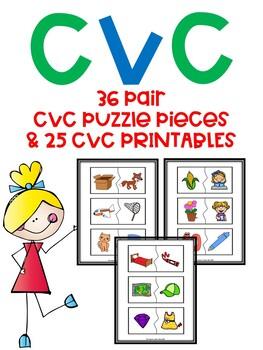 CVC 2-Part Color Puzzles & 25 Printables
