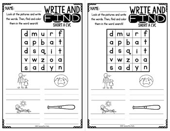 CVC Printables - Word Family Word Search