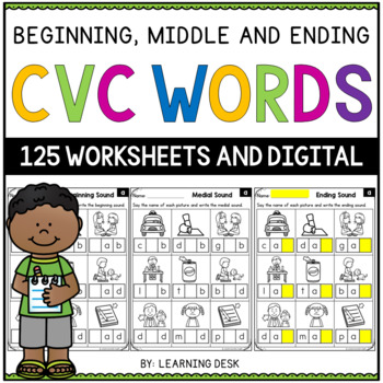 Cvc Worksheets Cvc Activity Beginning Middle And Ending Sounds
