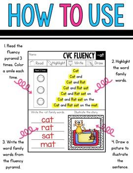 CVC Printables - Word Family Fluency