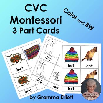 CVC Montessori 3 Part Cards - English - Pink Level