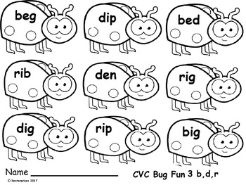 CVC 3 Short e and i  with B,D, and r activity
