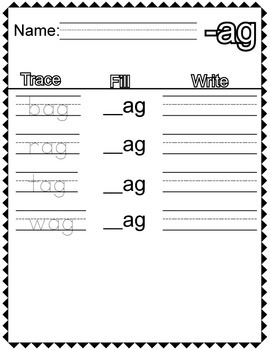 """CVC """"A"""" Families Trace Fill and Write"""