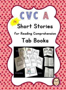 CVC Short Stories/ Reading Comprehension Passages Mini Tab Book