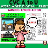 CVC A to U WORD WORK MISSING ENDING LETTER DIGITAL and PRI