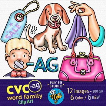 CVC -AG Word Family Clip Art