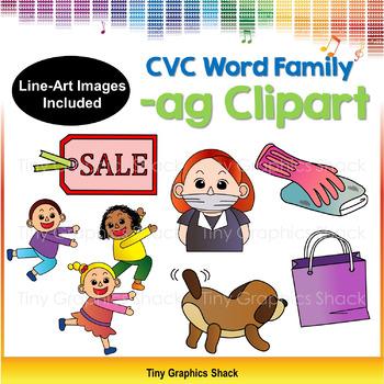 CVC -AG Word Family Clip Art (Short A)