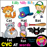 CVC - 'AT' Rhyming words. - B/W & Color clipart  {Lilly Si