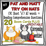 """Reading Comprehension and Questions - CVC """"AT"""" Short vowel 'a' {Boom Card}"""