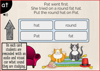 "Reading Comprehension and Questions - CVC ""AT"" Short vowel 'a' {Boom Card}"