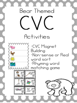 CVC Activities-- Bear Theme