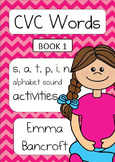 CVC Activity Booklet with s,a,t,p,i,n alphabet letters Book 1