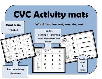 CVC Activity Mats -an, -en, -in, -un