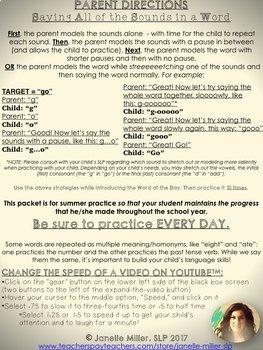CVC Apraxia Summer 2017 Speech Homework Calendars
