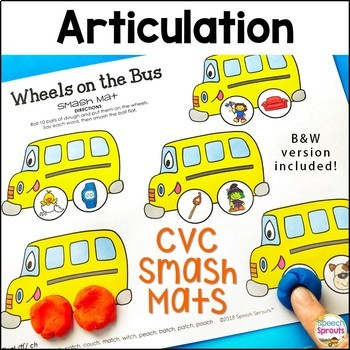 CVC Back to School Articulation Smash Mats -Distance Learning & Telepractice too