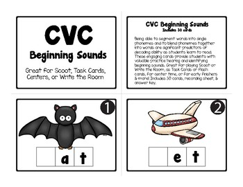 30 CVC BEGINNING SOUNDS TASK CARDS for Scoot, Write the Room, Centers, & More