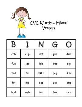 CVC BINGO Board Game - Mixed Vowels