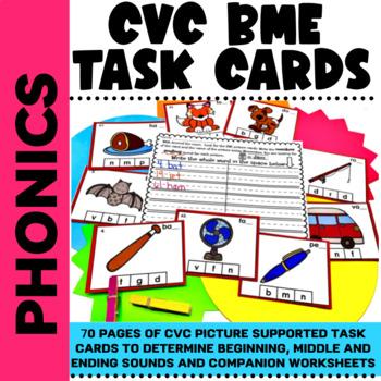 CVC Clip Cards & Worksheet Beginning,Middle & Ending Sound Activities