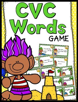 CVC Words Game - 30 CVC Task Cards!