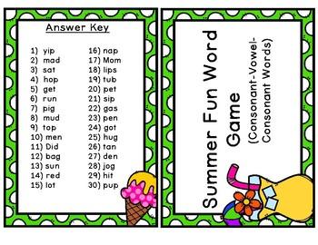 CVC Words Game - 30 CVC Task Cards!