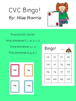 CVC Bingo 1.1 Phonics Practice Game