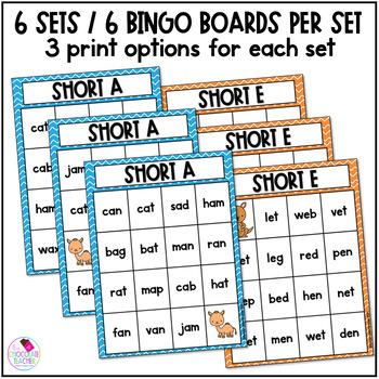 CVC Bingo 5 Short Vowels and a Mixed Set