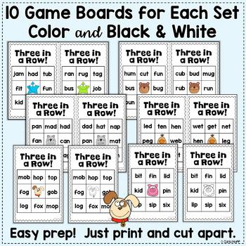CVC Word Bingo Bundle - 6 Bingo Games for Short Vowel Words!