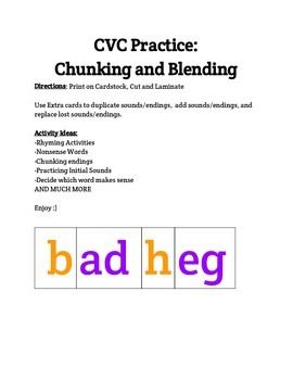 CVC Blending and Chunking Cards